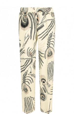 Укороченные брюки со стрелками и принтом Dries Van Noten. Цвет: кремовый