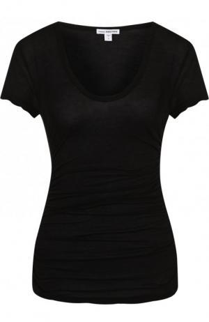 Однотонная хлопковая футболка с драпировкой James Perse. Цвет: черный