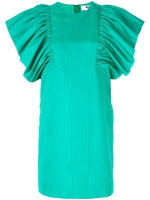 Платье с большими оборками на рукавах MSGM. Цвет: зелёный