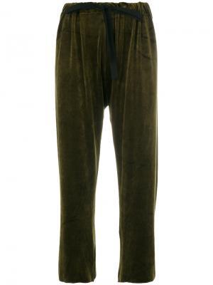 Укороченные брюки на шнурке Hache. Цвет: зелёный