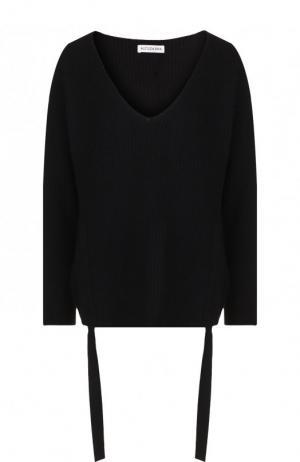 Кашемировый пуловер свободного кроя с оборками Altuzarra. Цвет: черный