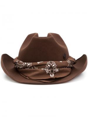 Фетровая шляпа с элементом банданы Maison Michel. Цвет: коричневый
