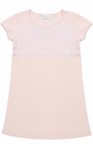 Сорочка из хлопка с кружевной отделкой La Perla. Цвет: розовый