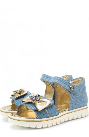 Текстильные сандалии с застежками велькро и декором Missouri. Цвет: голубой
