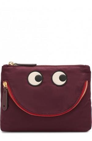 Текстильная косметичка Happy Eyes Anya Hindmarch. Цвет: бордовый