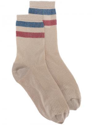 Носки с контрастными полосками Red Valentino. Цвет: телесный