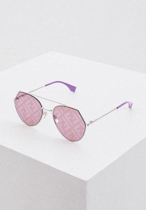 Очки солнцезащитные Fendi. Цвет: серебряный