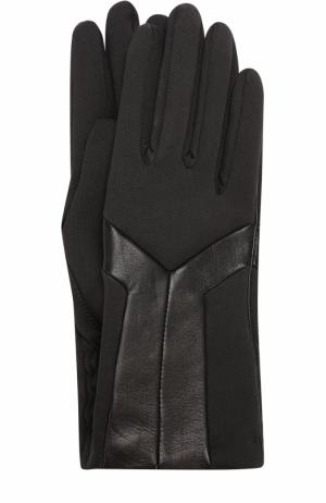 Перчатки с кожаной отделкой Agnelle. Цвет: черный