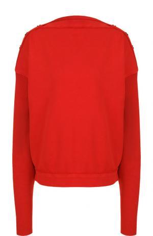 Хлопковый пуловер со спущенным рукавом Roque. Цвет: красный