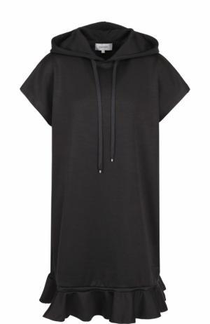 Платье-толстовка с капюшоном и оборкой Carven. Цвет: темно-серый