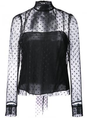 Блузка с прозрачным слоем в горох Milly. Цвет: чёрный