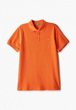 Поло United Colors of Benetton. Цвет: оранжевый