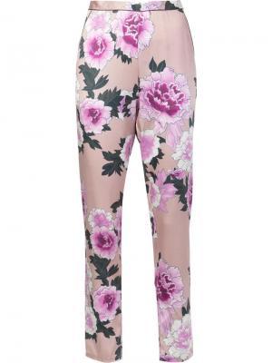 Пижамные брюки с контрастной отделкой Fleur Du Mal. Цвет: розовый и фиолетовый