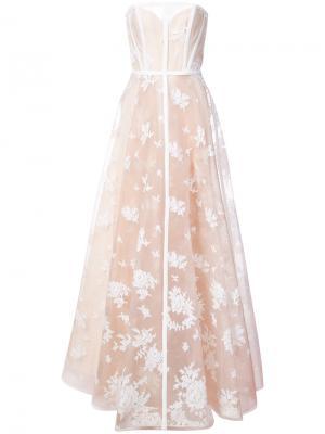 Вечернее платье-бюстье с вышивкой Alex Perry. Цвет: телесный