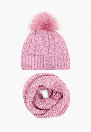 Шапка и снуд TrendyAngel. Цвет: розовый