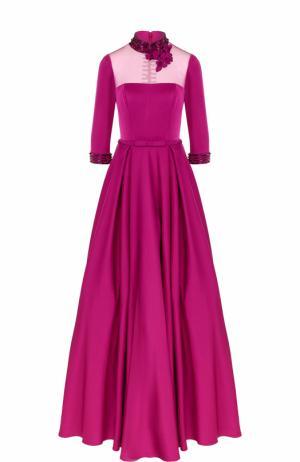 Приталенное платье-макси с воротником-стойкой Basix Black Label. Цвет: фуксия