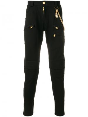 Зауженные брюки с цепочкой Pierre Balmain. Цвет: чёрный