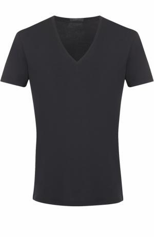 Хлопковая футболка с V-образным вырезом La Perla. Цвет: черный