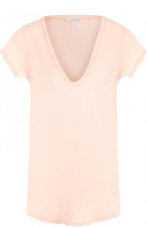 Хлопковая футболка с V-образным вырезом James Perse. Цвет: розовый