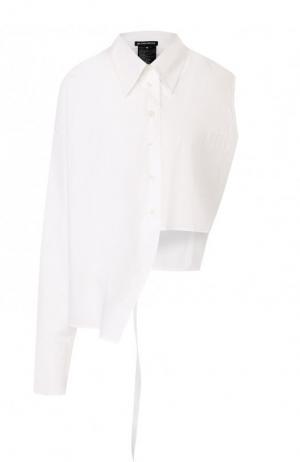 Однотонная хлопковая блуза асимметричного кроя Ann Demeulemeester. Цвет: белый