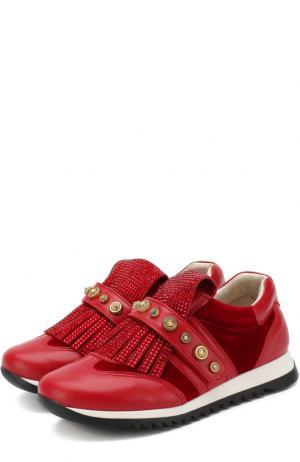 Кожаные кроссовки с бахромой и застежкой велькро Missouri. Цвет: красный