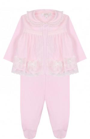 Хлопковый комплект из брюк и распашонки Aletta. Цвет: розовый