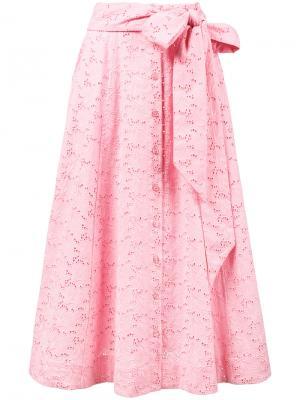 Пляжная юбка на пуговицах спереди Lisa Marie Fernandez. Цвет: розовый и фиолетовый