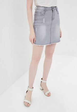 Юбка джинсовая By Swan. Цвет: серый
