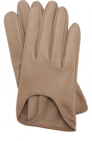 Кожаные перчатки Agnelle. Цвет: бежевый