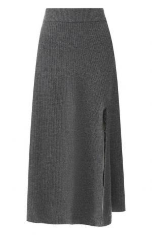 Кашемировая юбка с высоким разрезом Altuzarra. Цвет: серый