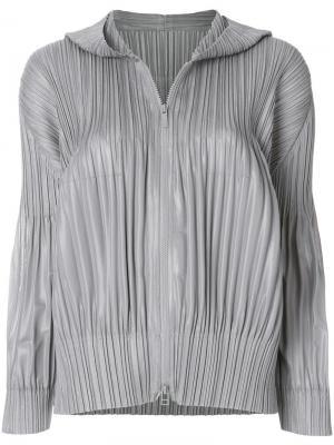 Куртка с капюшоном Pleats Please By Issey Miyake. Цвет: серый