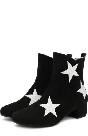 Замшевые ботинки на молнии Monnalisa. Цвет: черный