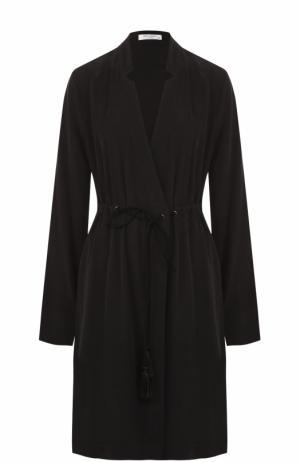 Шелковое приталенное платье с V-образным вырезом Equipment. Цвет: черный