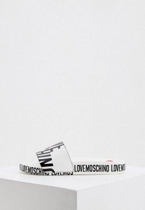 Сланцы Love Moschino. Цвет: белый