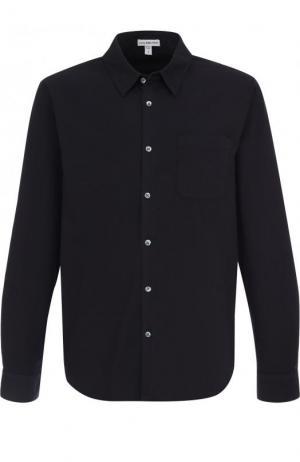 Хлопковая рубашка с воротником кент James Perse. Цвет: темно-синий