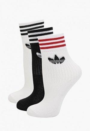 Носки 3 пары adidas Originals. Цвет: разноцветный