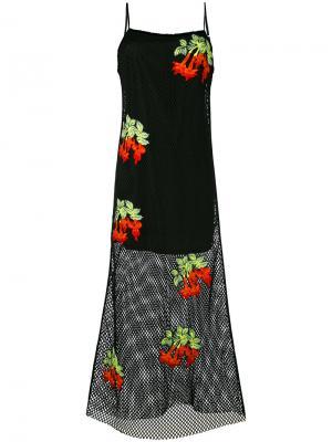 Сетчатое платье с цветочной вышивкой House Of Holland. Цвет: чёрный