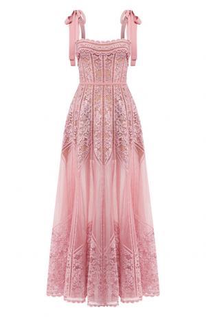Кружевное платье-макси с открытой спиной Elie Saab. Цвет: светло-розовый
