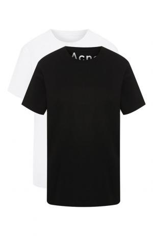 Комплект хлопковых футболок Acne Studios. Цвет: черно-белый