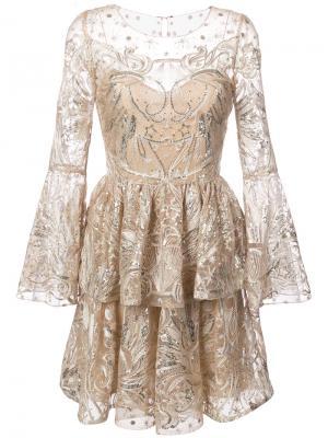 Тюлевое платье с отделкой пайетками Marchesa Notte. Цвет: телесный