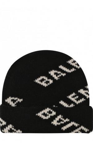 Шерстяная шапка с логотипом бренда Balenciaga. Цвет: черный
