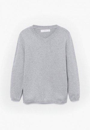 Пуловер Mango Kids. Цвет: серый