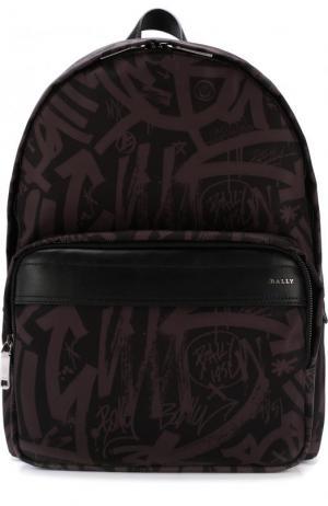 Текстильный рюкзак Wolfson с кожаной отделкой Bally. Цвет: серый