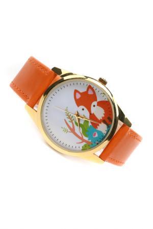 Часы Милая лиса MITYA VESELKOV. Цвет: оранжевый