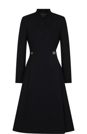 Однотонное шерстяное пальто Erika Cavallini. Цвет: синий