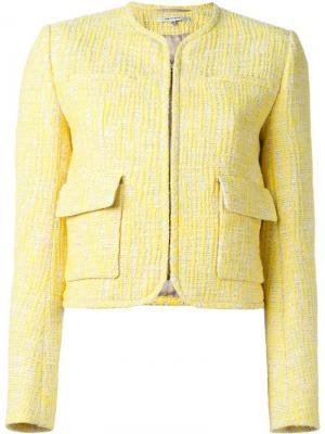 Твидовый пиджак с накладными карманами Carven. Цвет: жёлтый и оранжевый