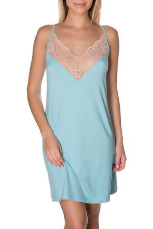 Сорочка ночная ROSE&PETAL HOMEWEAR. Цвет: голубой