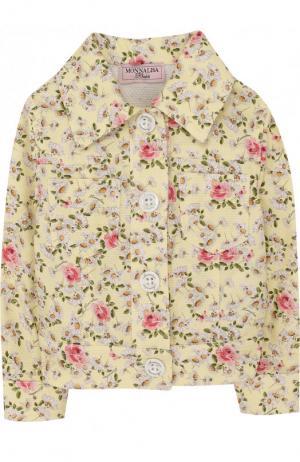 Хлопковая куртка с принтом Monnalisa. Цвет: желтый