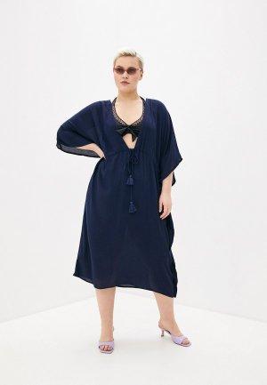 Платье пляжное Junarose. Цвет: синий