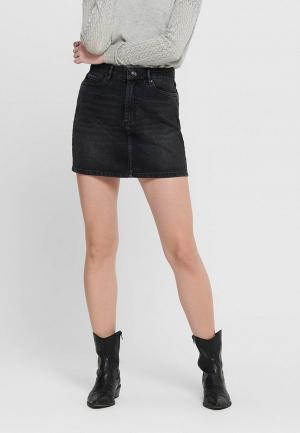 Юбка джинсовая Only. Цвет: черный